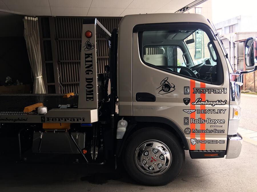 r020210 トラックドア カッティングシート - 【岐阜県岐阜市】トラック・積載車に社名ロゴ・ブランドロゴなどのカッティングシート貼りを担当しました。(3台目のご注文)
