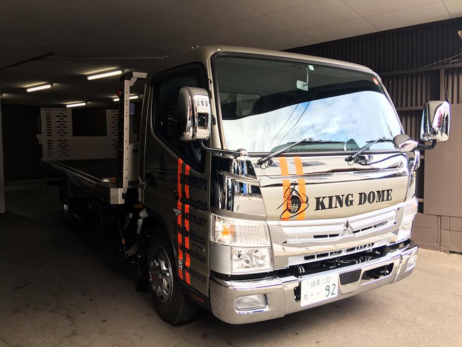 r020210 積載車 カッティングシート フロント - 【岐阜県岐阜市】トラック・積載車に社名ロゴ・ブランドロゴなどのカッティングシート貼りを担当しました。(3台目のご注文)